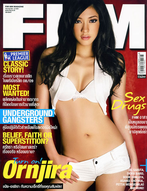 Pang Ornjira on the cover of FHM Thai edition