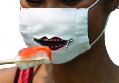 Funny face mask for swine flu prevention
