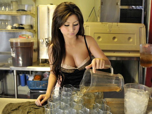 Cafe Lu Vietnamese coffee house waitress lots of cleavage