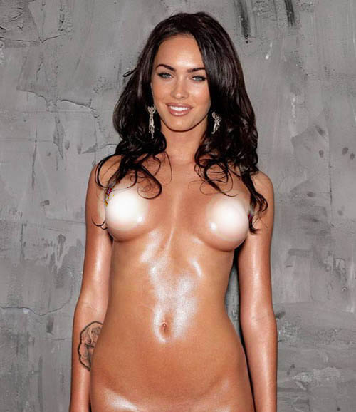 Megan Fox topless latex body paint