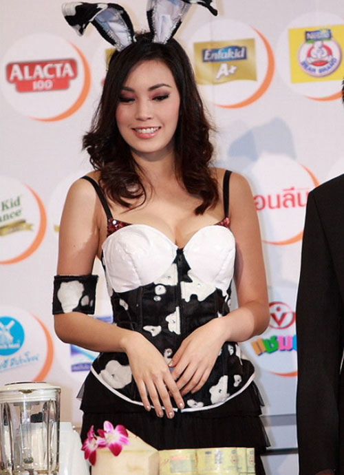 Thailand milk festival with sexy celebrity