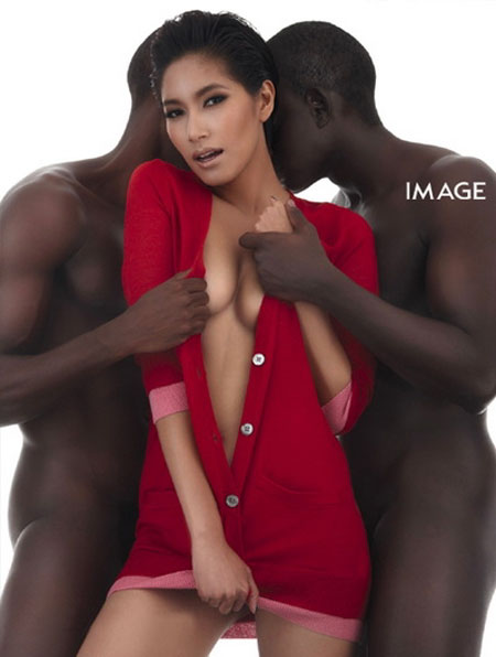 Thai model Benz with black male models
