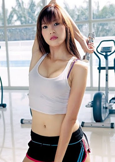 Thai model A-ngun working out