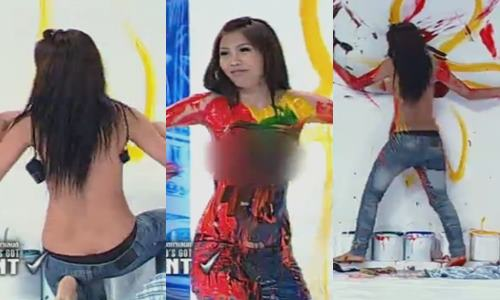 Thailands Got Talent topless painting